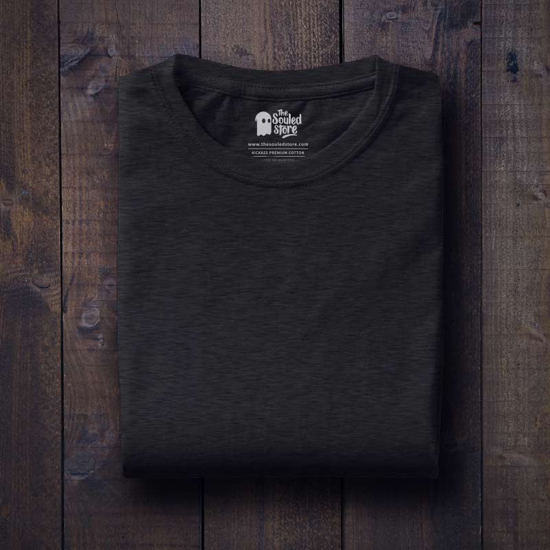 324a179140 Buy Solids Charcoal Melange T-shirt Online | The Souled Store