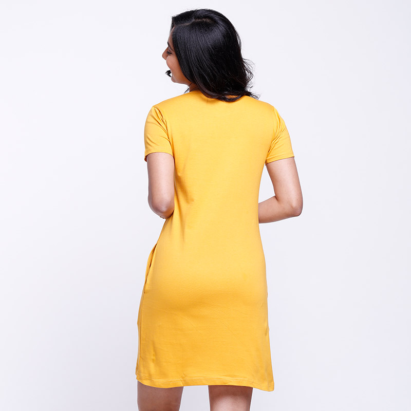 Buy Solid Mustard Yellow Color T-shirt Dress online   The